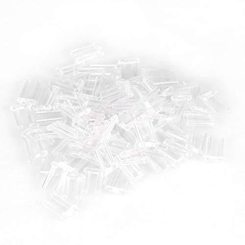 Fundas para marcos sin montura, 100 piezas Nuevas fundas de compresión de plástico transparente Kit de reparación de gafas sin montura Juego de reparación de fundas de compresión(1,6 * 0,8 * 0,7)