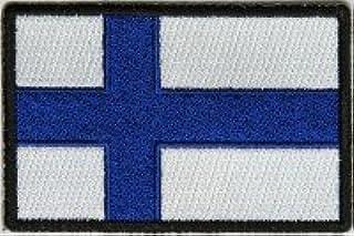 Tankpad Aufnäher Bestickt zum Aufbügeln, Motiv: Flagge Finnlands – 3 x 2 Zoll