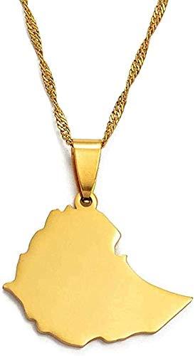 NC122 2 Collares con Colgante de Mapa etíope de 5 cm para Mujeres/niñas, joyería de Mapa de Color Dorado para niños