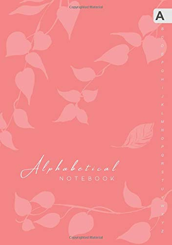 Alphabetical Notebook: B5 Lined-Journal Organizer Medium with A-Z Alphabet Tabs Printed | Cute Vine Leaves Design Baby Pink