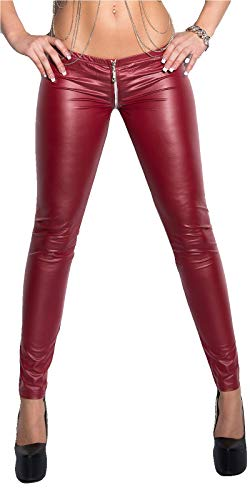 Kruidwear Dameslegging Sexy Wetlook Leggin met tweeweg ritssluiting in de stap (Zipper) Oververt Low Waist Skinny Gogo Clubwear Party