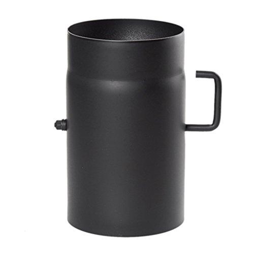 Ø 200 mm - Ofenrohr 25 cm mit Drosselklappe Schwarz