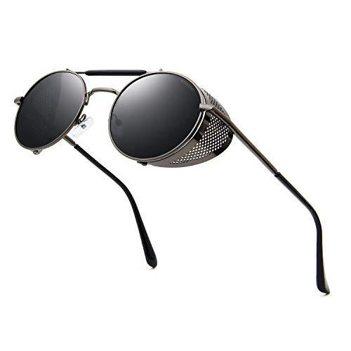 Ronsou Steampunk Style Round Vintage Sunglasses Retro Eyewear UV400 Protection Matel Frame grey&grey