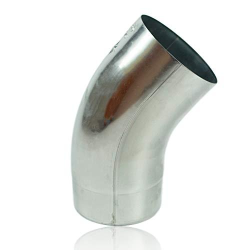 Zink Regenrohrbogen 76 mm mit 40 Grad, konischer Titanzink Ablaufbogen mit Einsteckfase, Fallrohrbogen stumpfgeschweißt DN 76