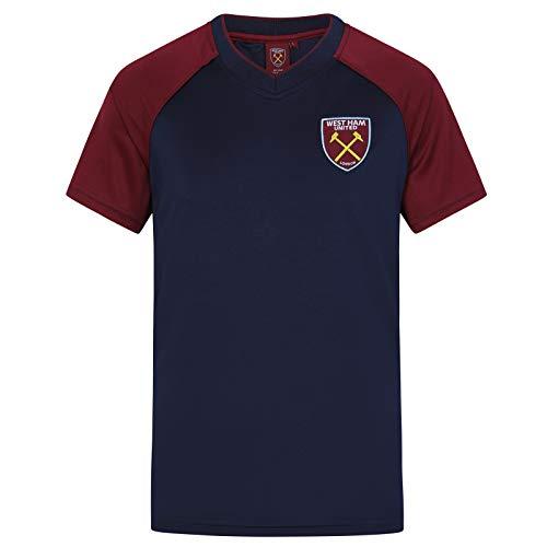 West Ham United FC - Camiseta Oficial de Entrenamiento - para Hombre - Poliéster - Azul Marino Cuello de Pico - M