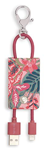 Vera Bradley Leatherette Charging Tag Keychain, Portable Charger Cord for Cellphones/Computers (Rain Forest Canopy Pink)