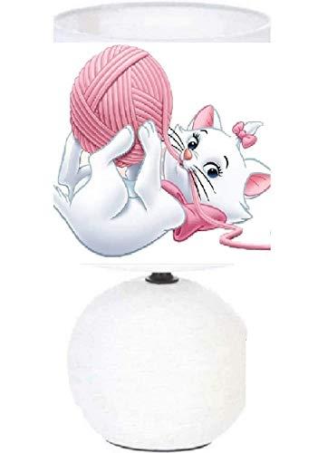 PRESENT Lampe de chevet MARIE ARISTOCHAT - création artisanale.Personnalisé avec Le prénom de l'enfant N° 6. (produit Français)