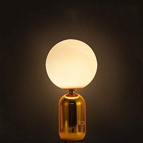 Tesysyet Magic Bean Glass Ball Lámpara De Mesa Creativa Hierro Metálico Oro Exclamación Lámpara De Noche Restaurante Dormitorio Luz LED
