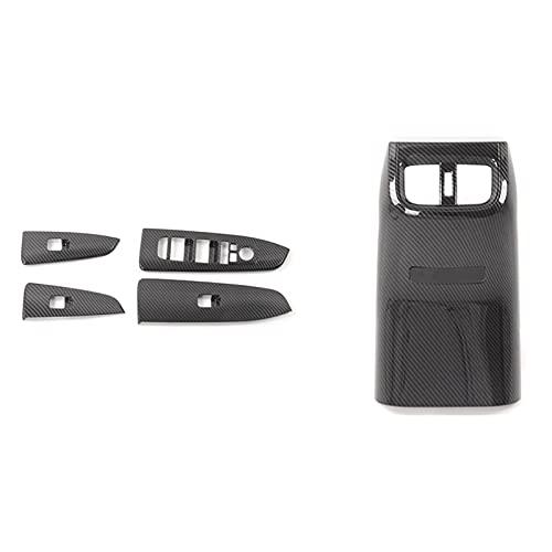 Armés de salida de aire trasero Difusor Difusor de ventilación Ribete con reposabrazos de coches Vidrio Levantamiento de vidrio Decoración Panel de decoración (Color : Black)