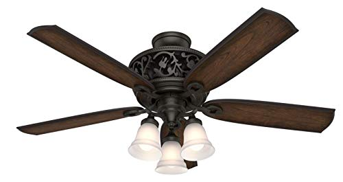 Hunter Promenade Indoor Ceiling Fan with LED Lights and Remote Control, 54', Brittany Bronze