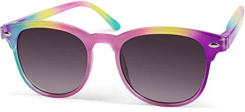 styleBREAKER Kinder Nerd Sonnenbrille mit buntem Rahmen, Kunststoff Rahmen und Polycarbonat Flachgläsern 09020090, Farbe:Gestell Türkis-Pink-Lila/Glas Grau Verlauf