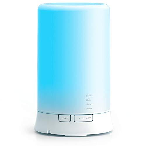Humidificador Aromaterapia Ultrasónico, 100ml. Difusor de Aceites Esenciales con LED de 7 Colores Diferentes. Para Aromaterapia, Casa, Oficina, Bebé, Baño y Spa.