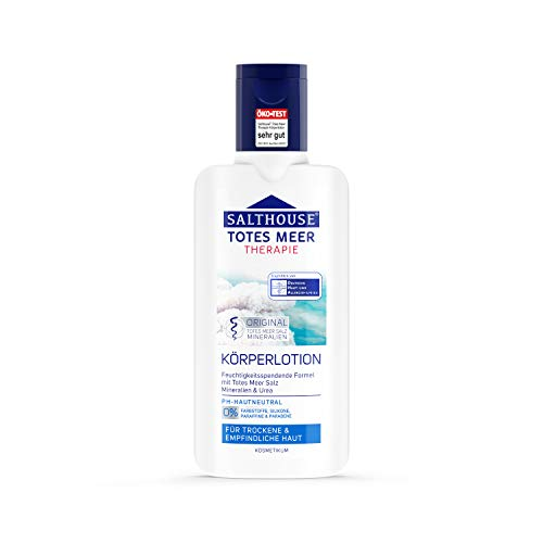 SALTHOUSE® Totes Meer Therapie Körperlotion I Spendet Feuchtigkeit I Fördert Zellregeneration I Naturöle mit Vitamin E und Q10 I Hautverträglichkeit dermatologisch bestätigt (250ml)