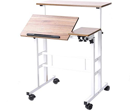 sogesfurniture Mobile Portatile Tavolo Laptop,Tavolino Porta PC con rotelle,Tavolo per Notebook & Laptop,Vassoio per Notebook Regolabile,Oak,BHEU-101-2OK
