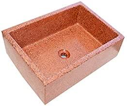 Terrazos Cantalejo Pilón Fregadero o Pila de Piedra parecida al Granito o mármol de 55 x 45,5 x 20,5 cm. (Rojo)
