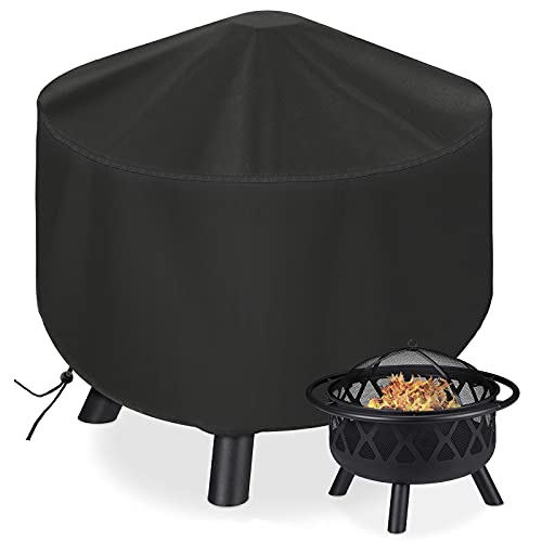 YISSVIC Fire Pit Covers Round 600D Pit Cover Waterproof Anti-UV Oxford Fabric for Outdoor Garden Patio 81x40cm