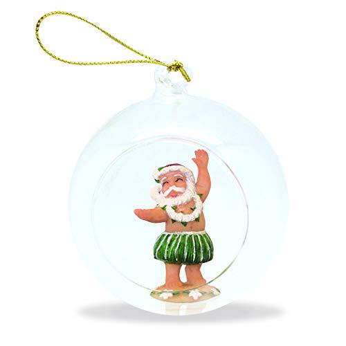 Island Heritage Hand Painted Glass Globe Hawaii Christmas Ornament Hula Santa