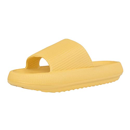 MoneRffi Unisex Kuschelige Badeschuhe Badeschlappen Sandalen Sommer Home Slippers Flip Flops Casual Strand Sandale Flache Schuhe für Damen Herren(B-gelb,38-39 EU)
