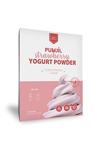 Soft Serve Mix, Pumjil Probiotic Soft Serve Mix, Ideal for Frozen Yogurt and Smoothies, Strawberry Flavor (59 servings per box)
