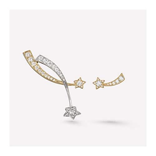 FKJSP Pendientes de estrella de cristal de moda para mujer, elegantes pendientes largos de perlas y pendientes geométricos de cartílago (color de metal: 2 pares)