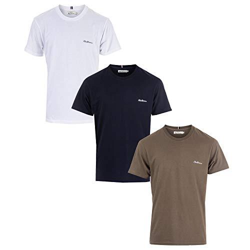 Ben Sherman Pack de 3 camisetas para hombre en Whtie Navy Khaki- 1 blanco, 1 azul marino, 1