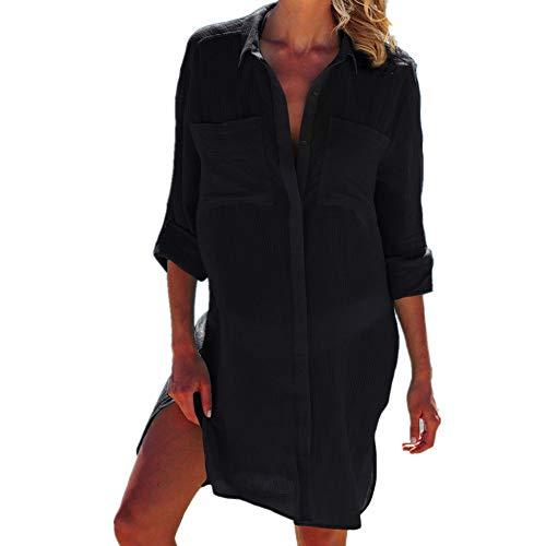 PANAX Luftiges Damen Blusenkleid in Schwarz - Strandponcho Ideal für den Urlaub, Sommer, Bikini, Badeanzug, Pool, See