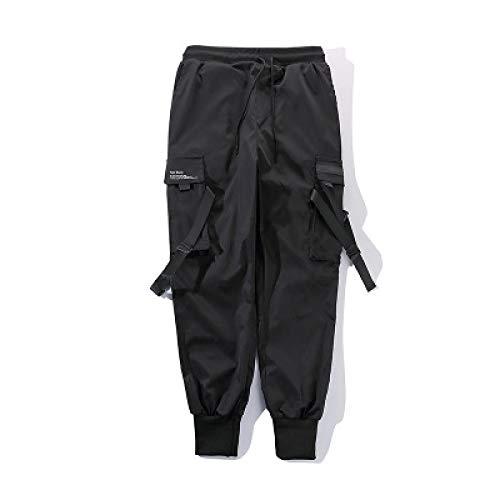 Pantalones Cargo de Hip-Hop a la Moda para Hombre, Color sólido, decoración Personalizada, Pantalones Holgados de Cintura elástica cónicos con Bolsillos XXL