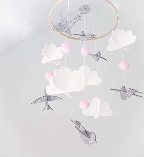 Wuudi Campana de la cama del bebé del viento del timón móvil para la cuna móvil de la cuna para niños y niñas para colgar sobre la cuna (paloma rosa)