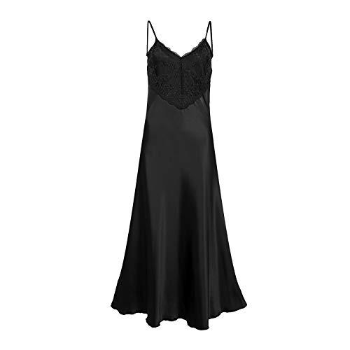 Damen Nachthemd aus Spitze, Satin, Seide, Camisole mit Trägern, Nachtwäsche, Babydoll, Übergröße 38-50 Gr. 52-54, Schwarz