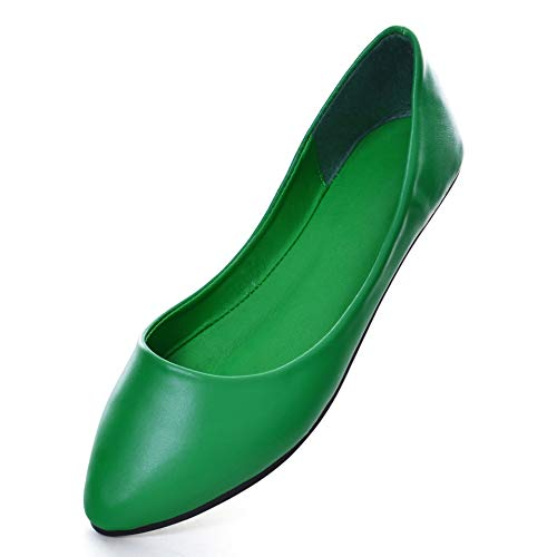 TN TANGNEST Women's Soft Candy Color Pointed Toe Flats Green 40(7.5)
