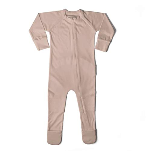 goumikids Unisex Baby Footie Pajamas Footed Sleeper Organic Bamboo and Cotton Blend Fabric Clothes with Adjustable Sock Feet, 2T Rose Pink