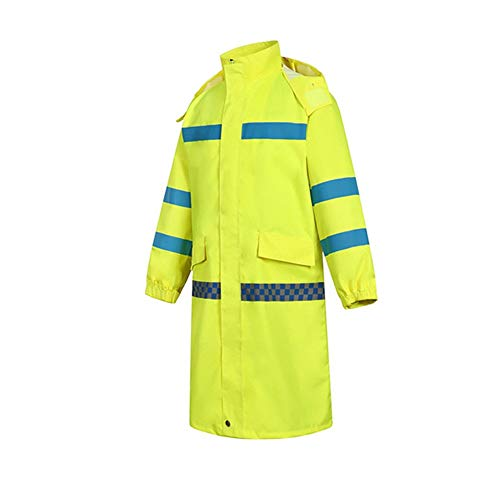 ZPLJ Hi-Viz Workwear Men's Waterproof Hooded Raincoat Long Trench Coat Outdoor Poncho Trench Coat Long Raincoat Reflective Raincoa t Reflective Raincoat Reflective High Visibility