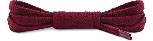 Ladeheid Qualitäts-Schnürsenkel LAMTB29 - Flach - 7 mm Breit - aus 100% Baumwolle, Reißfest, 16 Farben, 40-200 cm Länge (Rotwein, 120 cm)