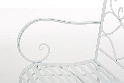 CLP Gartenbank FILIZ im Landhausstil, Eisen lackiert, ca. 105 x 55 cm – 2er Sitzbank Weiß - 6