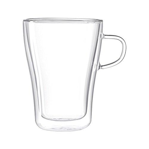 Leonardo - Duo - doppelwandiges Kaffeeglas, Henkelbecher, Becher - 350 ml - Glas