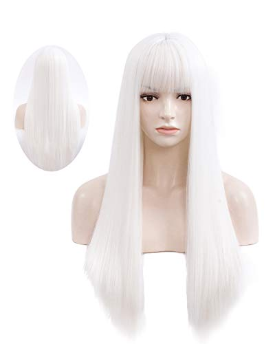 netgo Women's Long Straight Wigs With Bangs, 27 inch Heat Resistant Synthetic Cosplay Party Halloween Costume Wigs with Rose Net (White)