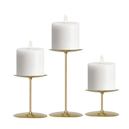 Smtyle - Juego de 3 candelabros dorados con hierro de 8,9 cm de diámetro, ideal para velas LED de pilar