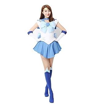 OURCOSPLAY Women s Sailor Moon Mercury Mizuno Ami Battle Cosplay Costume Dress 6 Pcs Set  Women XL  Blue