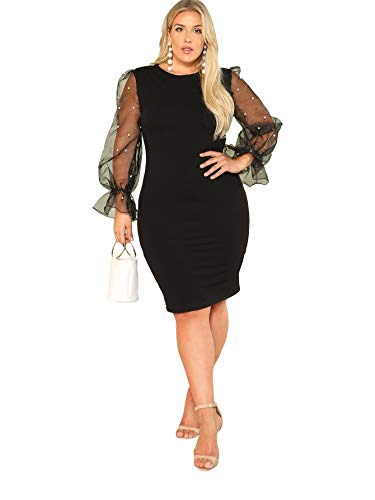 SheIn Women's Plus Size Elegant Mesh Contrast Pearl Beading Sleeve Stretchy Bodycon Pencil Dress Black X-Large Plus