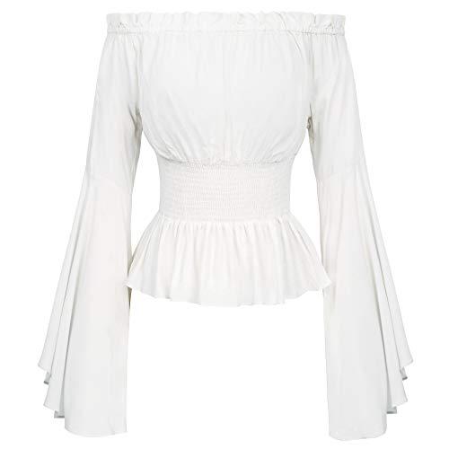 Women Off Shoulder Peasant Blouse Renaissance Tops T Shirts L White