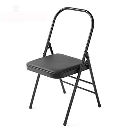 Pilates Yoga Chair, Professional Iyengar Auxiliary Chair, Yoga, Hardened and Thick Yoga Folding Chair, Solid Anti-Slip, Stable and Durable, Black,Blac