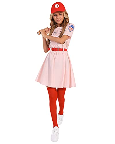 GIKING A League of Their Own Costume Adult Baseball Uniform Dress with Belt Hat Pink L