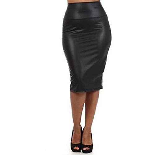 N\P Falda de cuero de la PU de las mujeres del otoño del invierno del paquete de las señoras de la cadera de la hendidura Bodycon falda