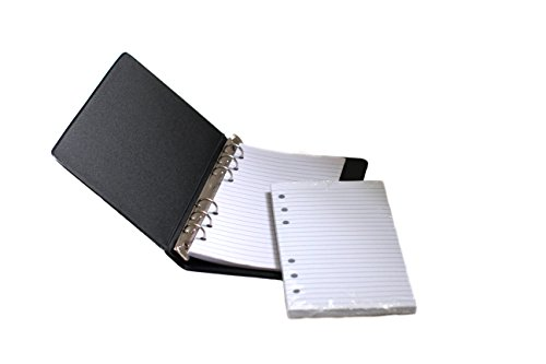 """HNR essentials Loose-Leaf Memo Book, 6 3/4 x 3 3/4"""", 6-Ring Binder, 80 Pages + Free Refill 80 Pages"""