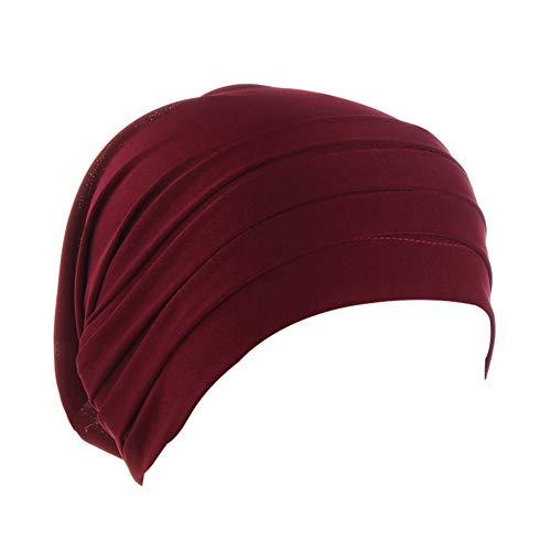 MoreChioce Twist Turban Kopfbedeckung Baumwolle Chemo Hut Kopftuch Elastische Headwrap Frauen Kopf Wraps Schals Beanie Cap Kappe Indische Bonnet,Wein Rot
