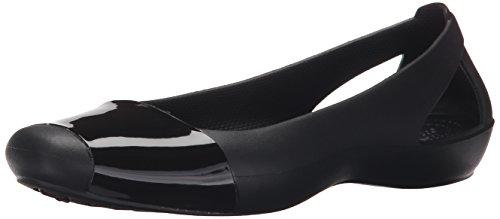 crocs Women's Sienna Shiny Flat, Black/Black, 7 M US