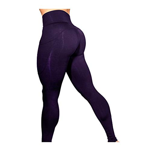 URIBAKE ❤ Women's Workout Leggings Mid Waist Solid Fitness Sports Gym Running Yoga Athletic Pants Purple