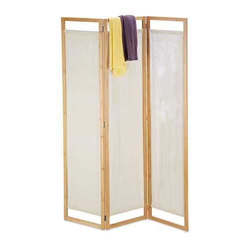 Relaxdays Paravent, 3-teilig, Faltbarer Raumtrenner mit Sichtschutz, aus Bambus und Stoff, HxBxT 170x120x1,5 cm, Natur, 1 Stück