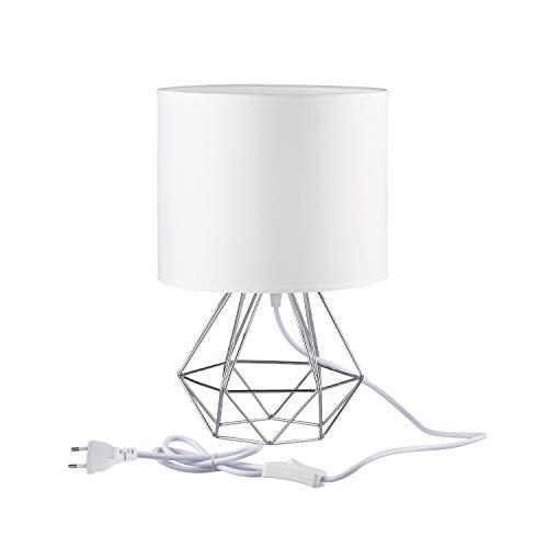FRIDEKO HOME Vintage Tischlampe - 25cm DIY Tischleuchte Modern Körbchenstil Stil Kreativer für Schlafzimmer Nachttischlampe Arbeitszimmer Office [Verbesserte Version] Weiß & Silber