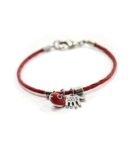 Hamsa mano e Evil Eye Charms sul braccialetto di cuoio rosso genuino per le donne - 18 cm